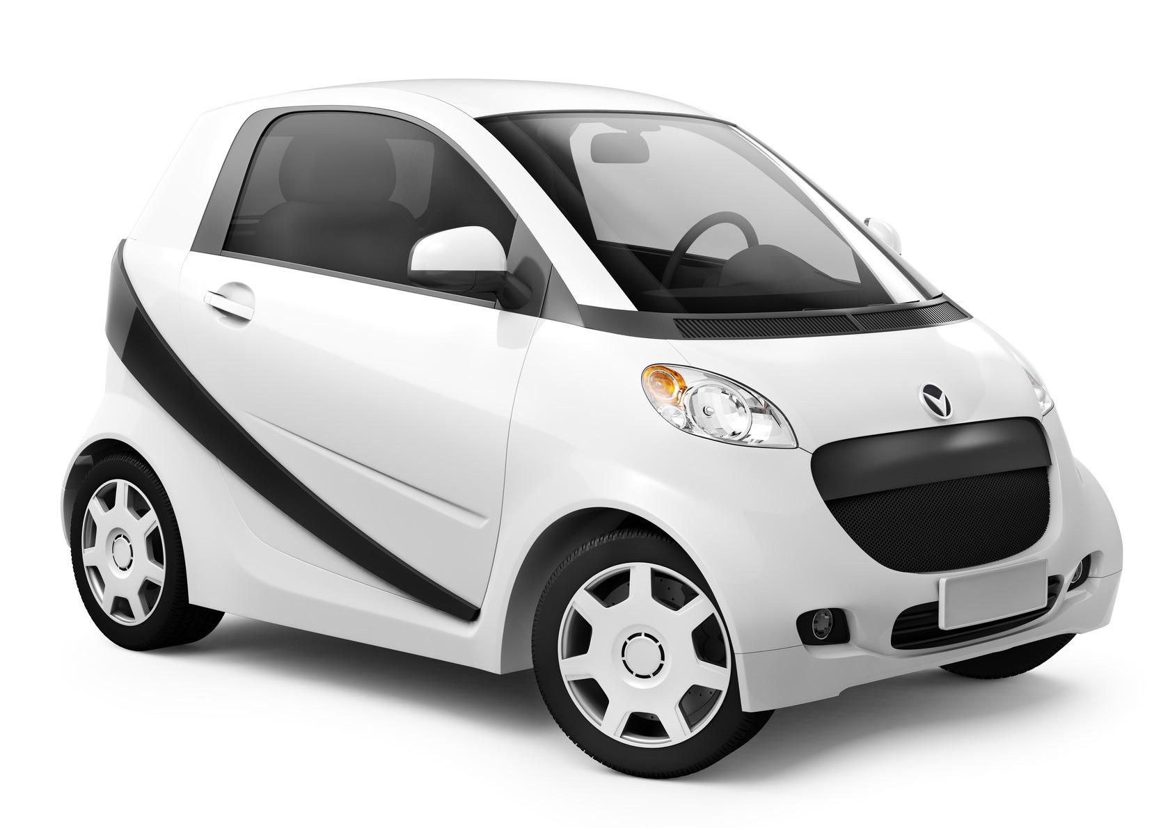 White smart car